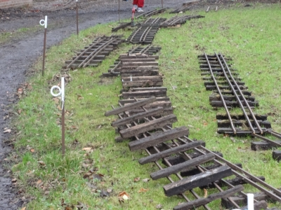 Some of the old track taken up and ready for stripping